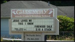 Oui, Jésus m'aime. Et il vend du bois.