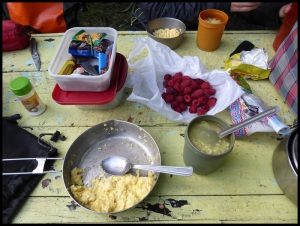Omelette au fromage, nouilles chinoises et framboises (au bon gout du gratuit)
